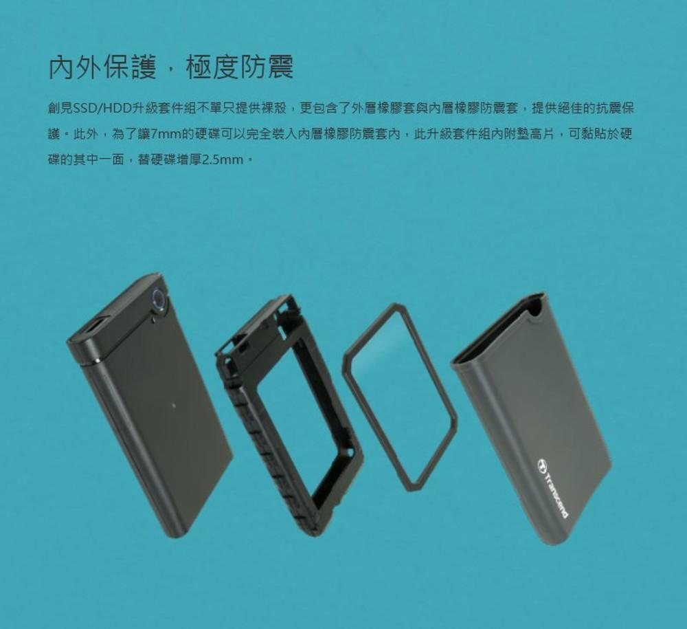 創見 硬碟外接盒 【TS0GSJ25CK3】 2.5吋 SSD HDD升級套件組 USB3.0 單鍵備份